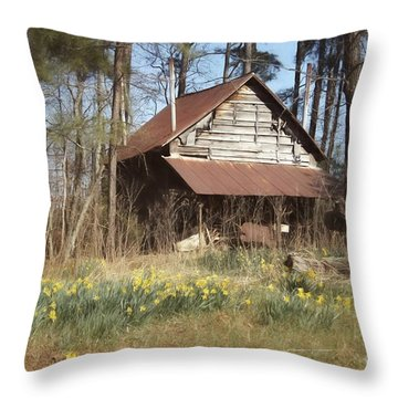 Throw Pillow featuring the photograph Tobacco Barn In Spring by Benanne Stiens