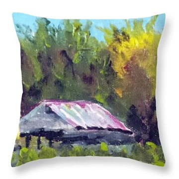 Throw Pillow featuring the painting Tobacco Barn On Deppe Loop Rd by Jim Phillips