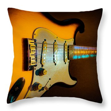 Tobacco Burst Stratocaster Glow Neck Series Throw Pillow
