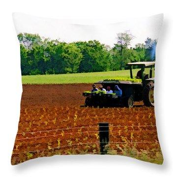 Tobacco Planting Throw Pillow