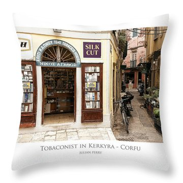 Throw Pillow featuring the digital art Tobaconist In Kerkyra - Corfu by Julian Perry
