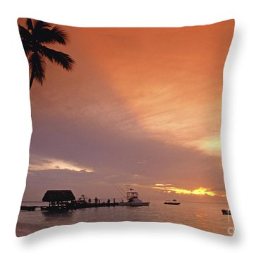 Throw Pillow featuring the photograph Tobago, Pigeon Point Sunset, Caribbean Sea, by Juergen Held