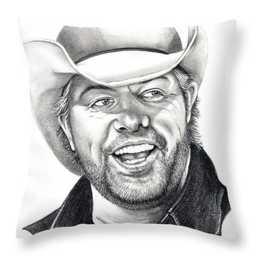 Toby Keith Throw Pillow by Murphy Elliott