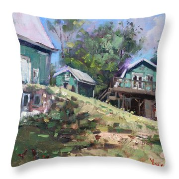 Today Morning At Carter Farms In Norval Throw Pillow