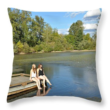 Toes In The Water Throw Pillow by Mindy Bench