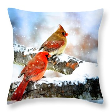 Together In The Snow Throw Pillow