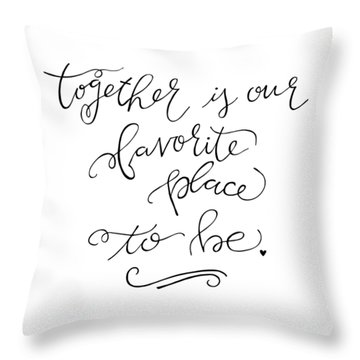 Throw Pillow featuring the drawing Together by Nancy Ingersoll