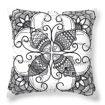Throw Pillow featuring the drawing Together We Flourish - Ink by Caroline Sainis