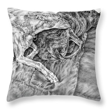 Togetherness - Greyhound Dog Art Print Throw Pillow