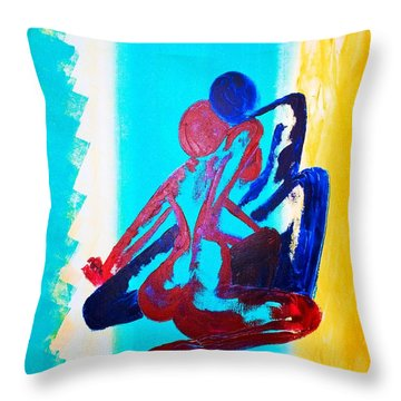 Throw Pillow featuring the painting Togetherness by Piety Dsilva