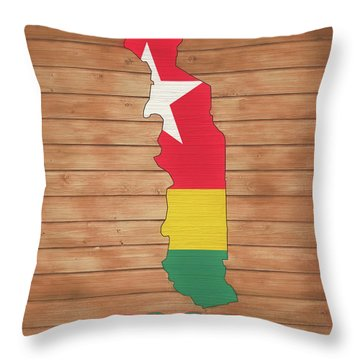 Togo Rustic Map On Wood Throw Pillow
