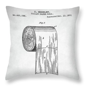 Throw Pillow featuring the digital art Toilet Paper Roll Patent by Taylan Apukovska