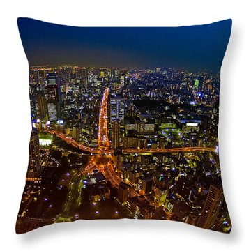 Throw Pillow featuring the photograph Tokyo At Night by Dan Wells