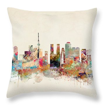 Throw Pillow featuring the painting Tokyo City Skyline by Bri B