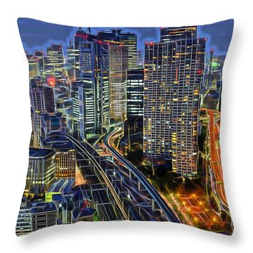 Tokyo Japan Skyline Throw Pillow by Marvin Blaine