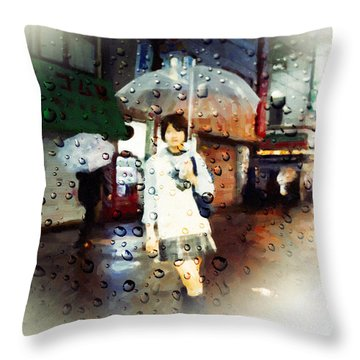 Throw Pillow featuring the painting Rainytokyo Night by Chris Armytage