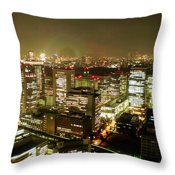Tokyo Skyline Throw Pillow by Nancy Ingersoll
