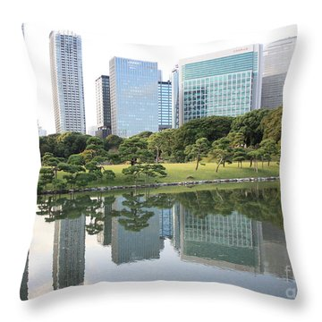 Tokyo Skyline Reflection Throw Pillow by Carol Groenen
