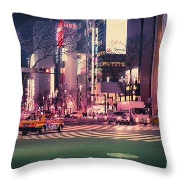 Tokyo Street At Night, Japan 2 Throw Pillow