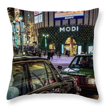 Tokyo Taxis, Japan Throw Pillow