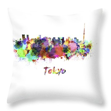 Tokyo V2 Skyline In Watercolor Throw Pillow by Pablo Romero