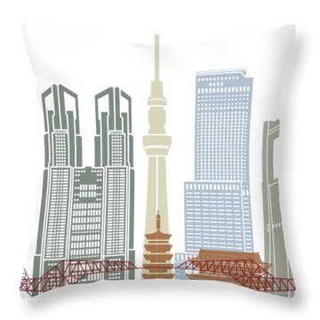 Tokyo V2 Skyline Poster Throw Pillow