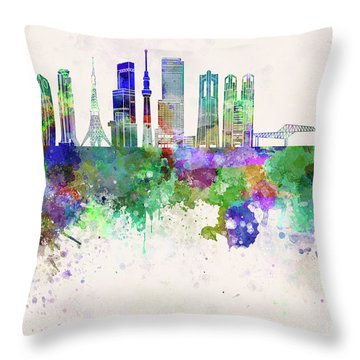 Tokyo V3 Skyline In Watercolor Background Throw Pillow by Pablo Romero