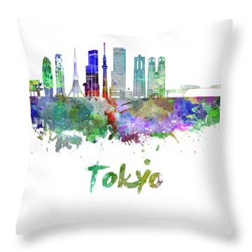 Tokyo V3 Skyline In Watercolor Throw Pillow by Pablo Romero