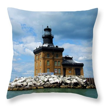 Toledo Harbor Lighthouse Throw Pillow by Michiale Schneider