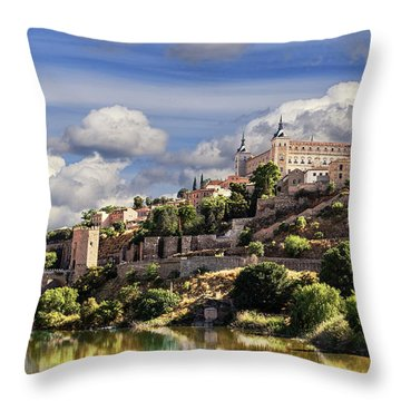 Toledo. Majestic Stone Fortress The Alcazar Is Visible From Any Part Of The City Throw Pillow