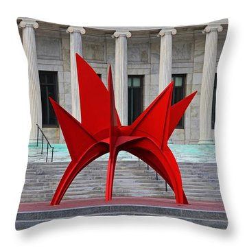 Toledo Museum Of Art With Alexander Calder 1973 'stegosaurus' II Throw Pillow
