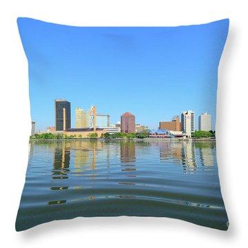 D12u-673 Toledo Ohio Skyline Photo Throw Pillow