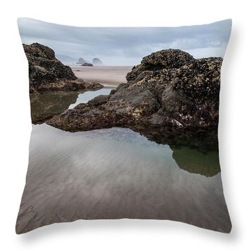 Tolovana Beach At Low Tide Throw Pillow