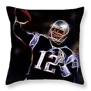 Tom Brady - New England Patriots Throw Pillow by Paul Ward