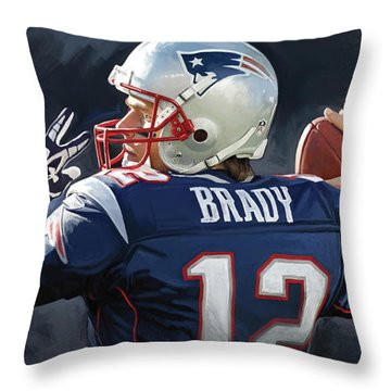 Throw Pillow featuring the painting Tom Brady Artwork by Sheraz A