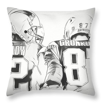 Throw Pillow featuring the drawing Tom Brady Rob Gronkowski Sketch by Dan Sproul