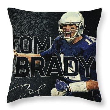 Tom Brady Throw Pillow by Taylan Apukovska