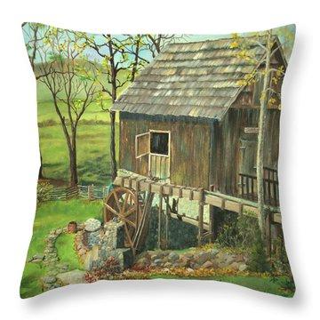 Tom Lott's Mill In Georgia Throw Pillow