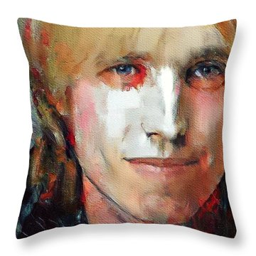 Tom Petty Tribute Portrait 3 Throw Pillow