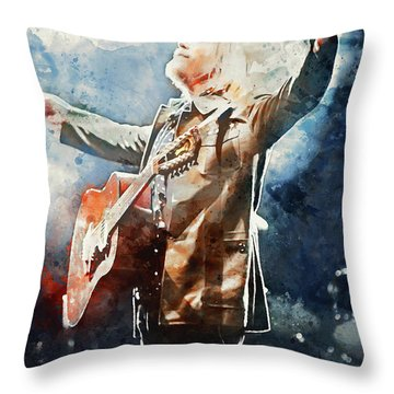 Tom Petty - Watercolor Portrait 13 Throw Pillow