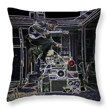 Throw Pillow featuring the mixed media Tom Waits Jamming by Charles Shoup
