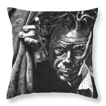 Tom Waits Throw Pillow by Ken Meyer