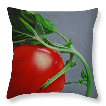 Tomato And Basil Throw Pillow