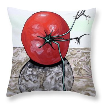 Throw Pillow featuring the painting Tomato On Marble by Mary Ellen Frazee