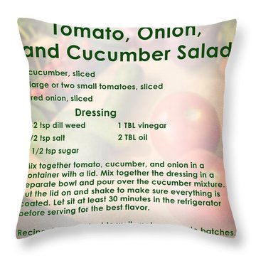 Tomato Onion Cucumber Salad Recipe Throw Pillow