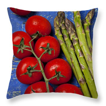 Tomatoes And Asparagus  Throw Pillow by Garry Gay