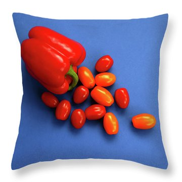 Tomatoes And Capsicum On Blue Throw Pillow