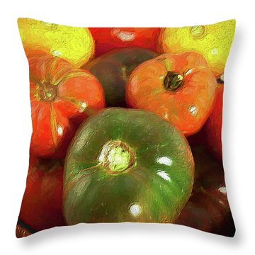 Throw Pillow featuring the painting Tomatoes In A Basket Ap by Dan Carmichael