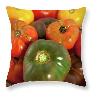 Throw Pillow featuring the photograph Tomatoes In A Basket by Dan Carmichael