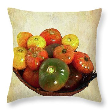 Throw Pillow featuring the painting Tomatoes In A Basket Wide Ap by Dan Carmichael